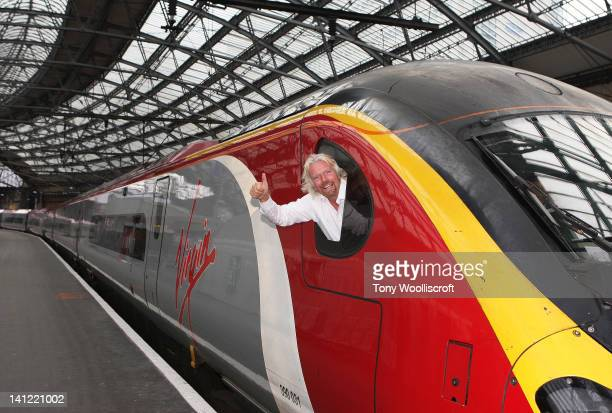 Sir Richard Branson launches the day of activity at Liverpool Lime Street Station on March 13 2012 in Liverpool England