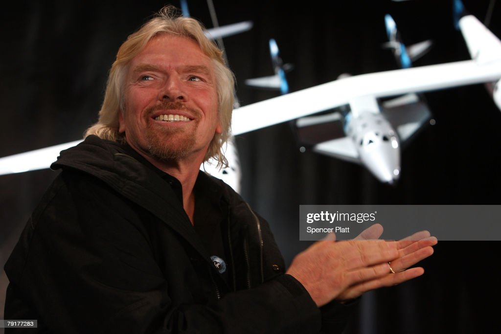 Sir Richard Branson of Virgin Atlantic smiles at the unveiling a model of a spaceship at a news conference January 23, 2008 in New York City. Branson hopes the spaceship will be the first to ferry paying passengers into space on a regular schedule. Branson's Virgin Galactic is one of several commercial enterprises currently competing to offer flights to space. Looking to commence the program latter this year, about 200 people have already signed up for the rides, which cost about $200,000 per person.