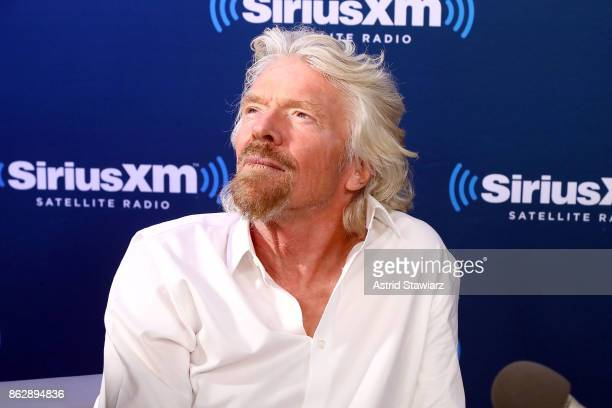 """Sir Richard Branson participates in a SiriusXM """"Town Hall"""" Event hosted by Dan Rather on October 18, 2017 in New York City."""