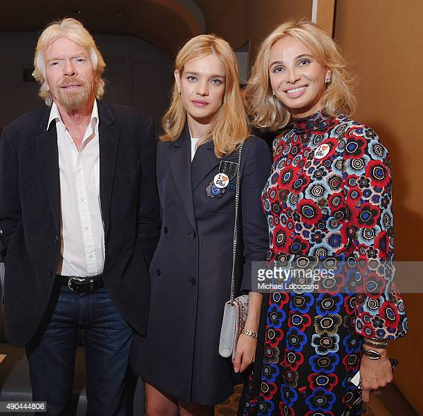 Sir Richard Branson philanthropist and model Natalia Vodianova and Strategic Advisor Corinna SaynWittgenstein attend the CNBC panel at The Core Club...