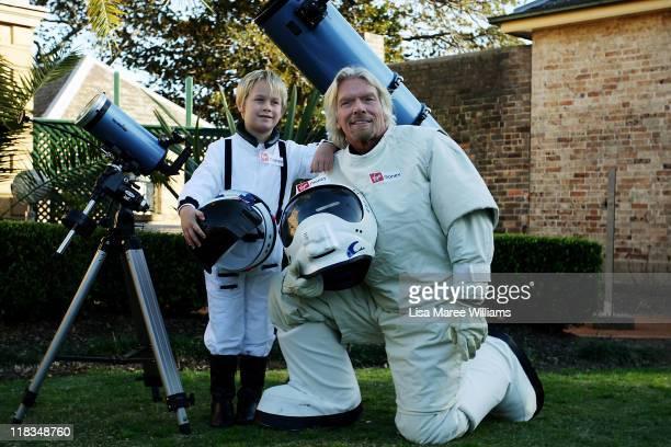 Sir Richard Branson poses alongside Charlie Graham to celebrate Virgin Money's Birthday in Australia on July 7, 2011 in Sydney, Australia. Branson...