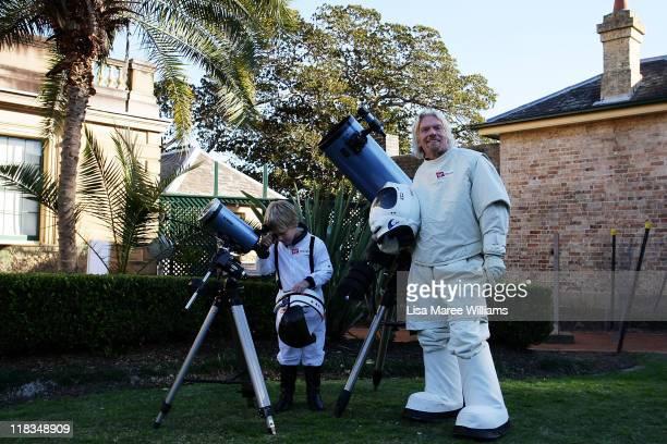 Sir Richard Branson poses alongside Charlie Graham to celebrate Virgin Money's Birthday in Australia on July 7 2011 in Sydney Australia Branson...
