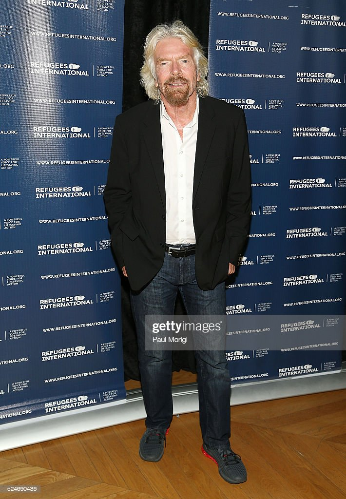 Sir Richard Branson poses for a photo at the 'Refugees International's 37th Anniversary' Dinner at the Andrew W. Mellon Auditorium on April 26, 2016 in Washington, DC.