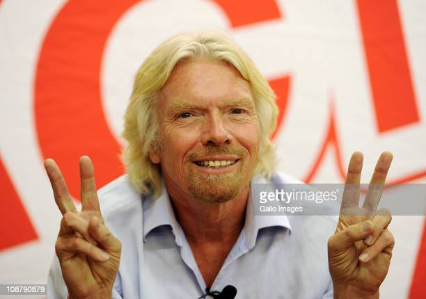 Sir Richard Branson poses for a photograph during a press conference at Virgin Active Health Club's Boulders gym in Midrand on February 2 2011 in...