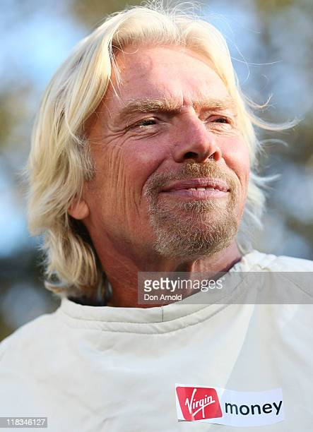 Sir Richard Branson poses to celebrate Virgin Money's Birthday in Australia on July 7, 2011 in Sydney, Australia. Branson announced a competition...