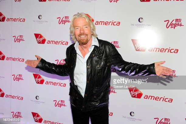 Sir Richard Branson the chairman of Virgin Group arrives at Virgin America launch of new flights at The Cosmopolitan of Las Vegas on April 22 2013 in...