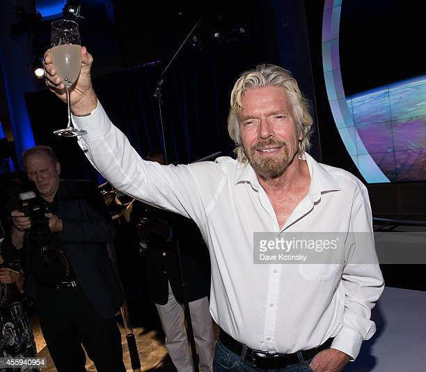 Sir Richard Branson toasts at The Global Launch Of Grey Goose Virgin Atlantic at the American Museum of Natural History on September 22 2014 in New...