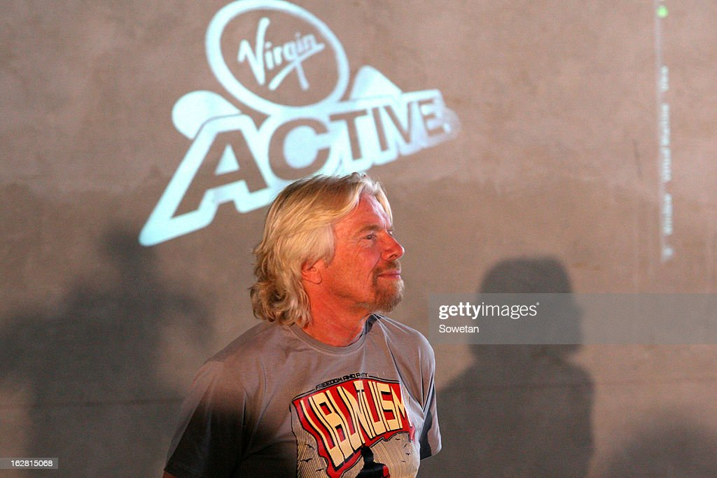 Sir Richard Branson visits the new Virgin Active Sandton under construction on February 27, 2013, in Johannesburg, South Africa.