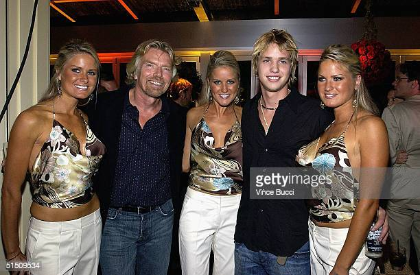 Sir Richard Branson with triplets Jen Dahm Erica Dahm Nicole Dahm from Renovate My Family and son Sam inside the Fox Fall Season Launch Event at...