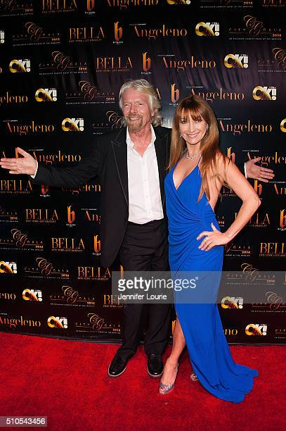 Sir Richard Charles Nicholas Branson and Jane Seymour arrive at the 2016 City Gala Fundraiser at The Playboy Mansion on February 15 2016 in Los...