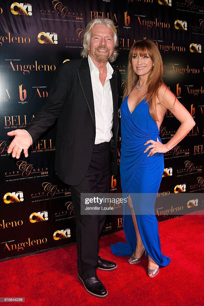 Sir Richard Charles Nicholas Branson and Jane Seymour arrive at the 2016 City Gala Fundraiser at The Playboy Mansion on February 15, 2016 in Los Angeles, California.