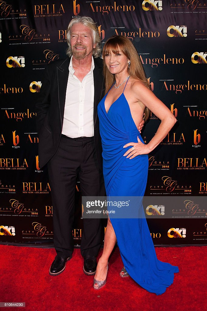 Sir Richard Charles Nicholas Branson and Jane Seymour arrives at the 2016 City Gala Fundraiser at The Playboy Mansion on February 15, 2016 in Los Angeles, California.