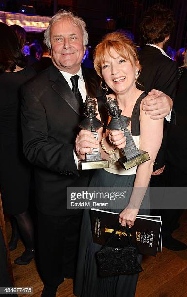 Sir Richard Eyre and Lesley Manville attend an after party following the Laurence Olivier Awards at The Royal Opera House on April 13 2014 in London...