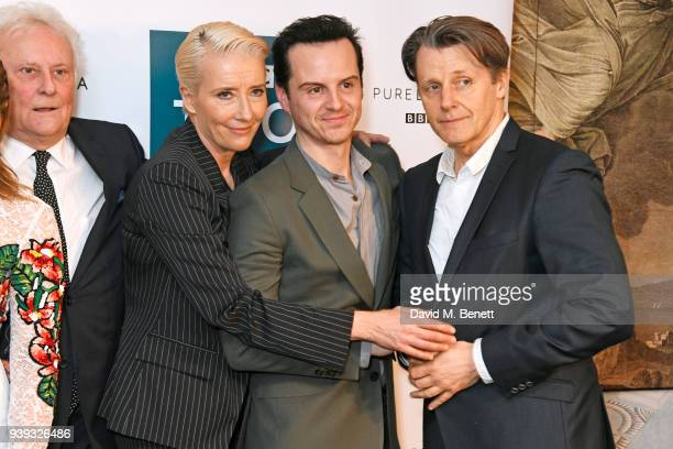 Sir Richard Eyre Emma Thompson Andrew Scott and Anthony Calf attend a special screening of new BBC Two drama 'King Lear' at The Soho Hotel on March...