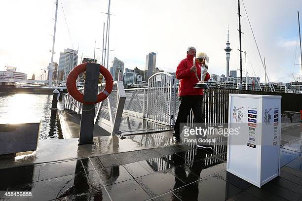 Sir Richard Hadlee arrives with the Cricket World Cup 2015 trophy during the 100 day countdown to the 2015 ICC Cricket World Cup at Wynyard Wharf on...