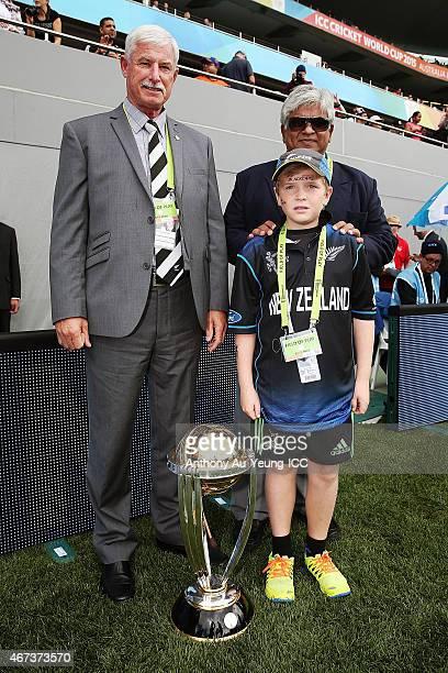 Sir Richard Hadlee former Sri Lankan international cricketer Arjuna Ranatunga with Jock Davies during the 2015 Cricket World Cup Semi Final match...
