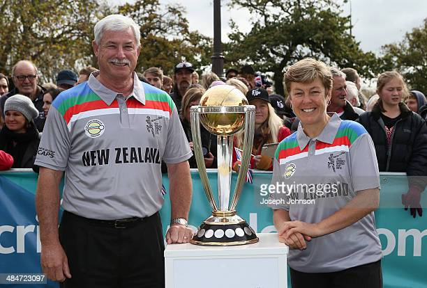 Sir Richard Hadlee ICC Cricket World Cup 2015 Ambassador and Debbie Hockley ICC Hall of Fame pose for a photo with the cricket World Cup Trophy...