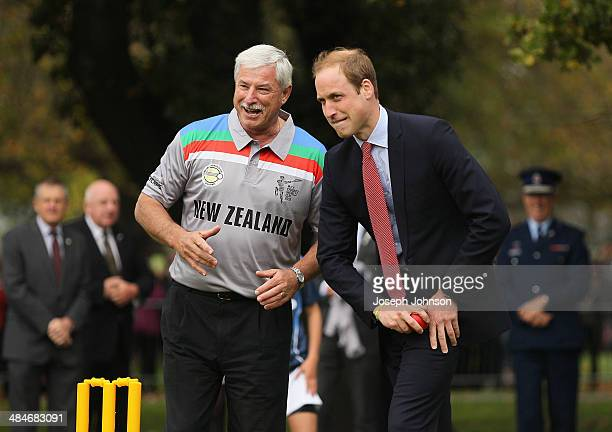 Sir Richard Hadlee ICC Cricket World Cup 2015 Ambassador explains to Prince William Duke of Cambridge how to bowl to Catherine Duchess of Cambridge...