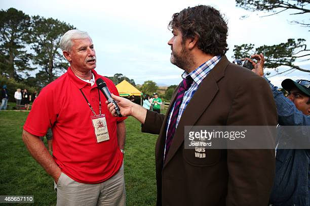 Sir Richard Hadlee is interviewed by James McConie of The Crowd Goes Wild sports TV program during a backyard cricket match captained by Kiwi cricket...