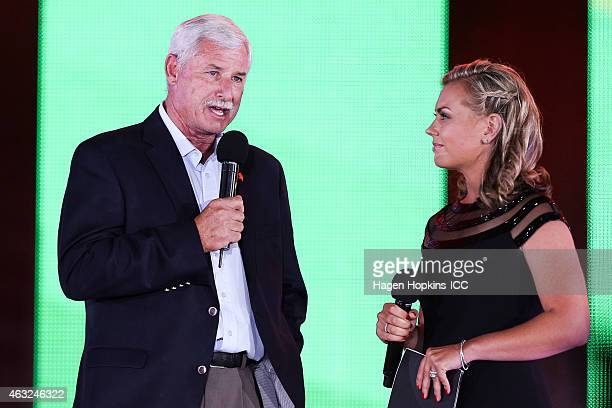 Sir Richard Hadlee of New Zealand speaks to MC Laura McGoldrick during the Opening Ceremony ahead of the ICC 2015 Cricket World Cup at Hagley Park on...