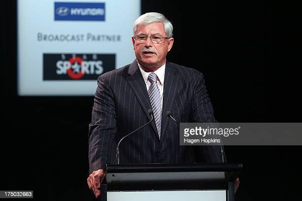 Sir Richard Hadlee speaks during the official launch of the ICC Cricket World Cup 2015 on July 30 2013 in Wellington New Zealand
