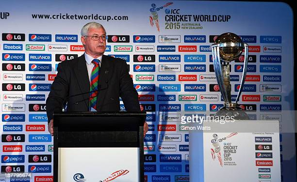 Sir Richard Hadlee talks to media during the ICC Cricket World Cup 2015 Ticket pricing announcement at Eden Park on November 13 2013 in Auckland New...