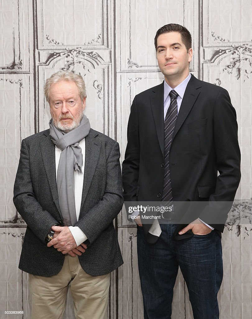 Sir Ridley Scott (L) and Drew Goddard attend AOL BUILD Series: Drew Goddard And Sir Ridley Scott, 'The Martian' at AOL Studios In New York on January 4, 2016 in New York City.