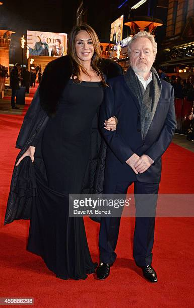 "Sir Ridley Scott and Giannina Facio attend the World Premiere of ""Exodus: Gods and Kings"" at Odeon Leicester Square on December 3, 2014 in London,..."