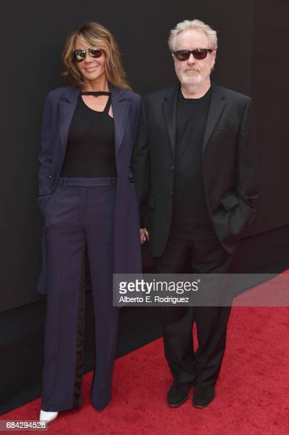 Sir Ridley Scott and his wife, actress Giannina Facio attend Scott's hand and footprint ceremony at TCL Chinese Theatre IMAX on May 17, 2017 in...