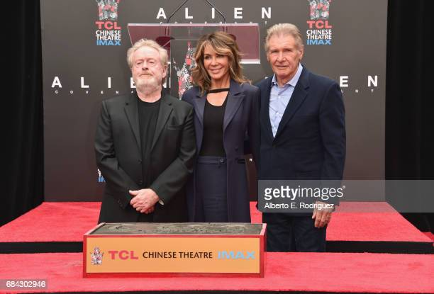 Sir Ridley Scott, wife Giannina Facio and actor Harrison Ford attend Sir Ridley Scott's hand and footprint ceremony at TCL Chinese Theatre IMAX on...