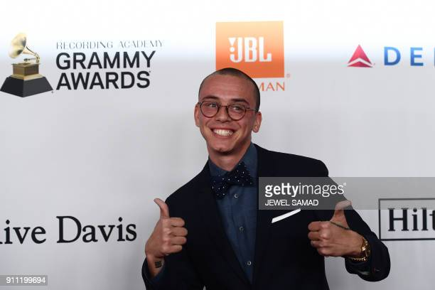 Sir Robert Bryson Hall II known by his stage name Logic an American rapper singer songwriter and record producer arrives for the traditionnal Clive...