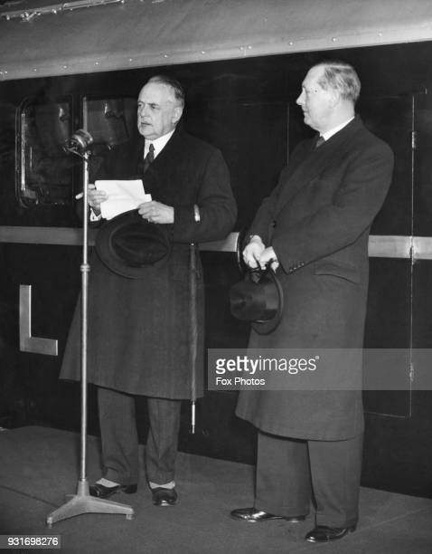 Sir Robert Burrows chairman of the LMS Railway gives a speech before a demonstration of Britain's first diesel electric locomotive designed for main...