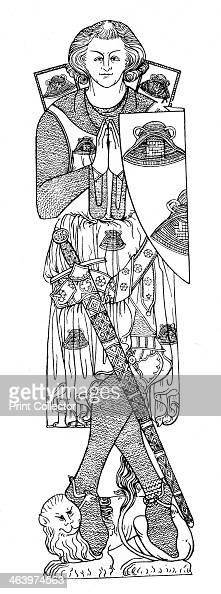 Sir Robert de Septvans, c1306, . From a brass in St Mary's