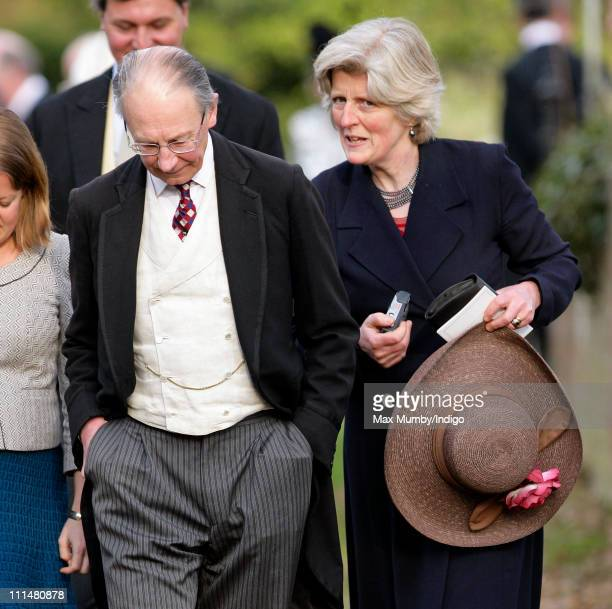Sir Robert Fellowes and Lady Jane Fellowes attend the wedding of William DuckworthChad and Lucy Greenwell at All Saints Church Sudbourne on April 2...