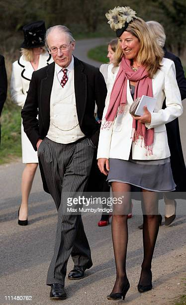 Sir Robert Fellowes attends the wedding of William DuckworthChad and Lucy Greenwell at All Saints Church Sudbourne on April 2 2011 in Woodbridge...