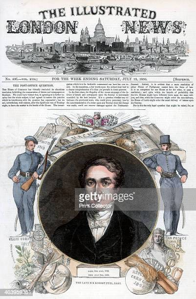Sir Robert Peel 1850 Front cover of The Illustrated London News 13th July 1850 Handcoloured later