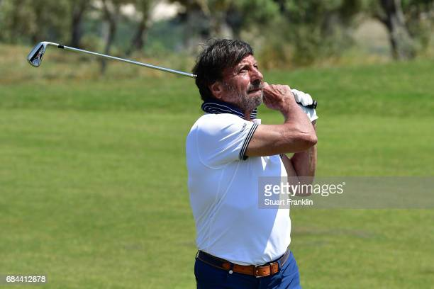 Sir Rocco Forte participates in a golf clinic during the first round of the Rocco Forte Open at Verdura Golf and Spa Resort on May 18 2017 in Sciacca...