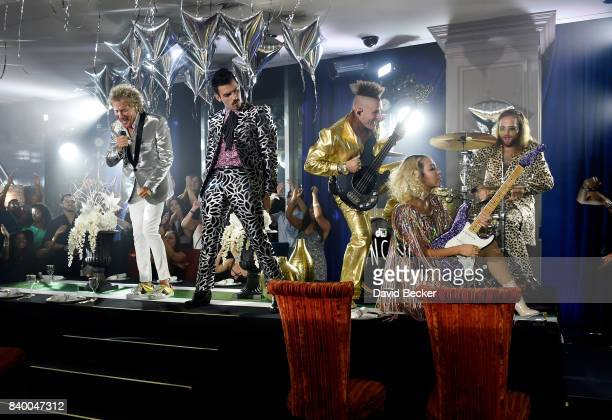 Sir Rod Stewart and Joe Jonas Cole Whittle JinJoo Lee and Jack Lawless of DNCE perform during a pretaping for the 2017 MTV Video Music Awards at the...