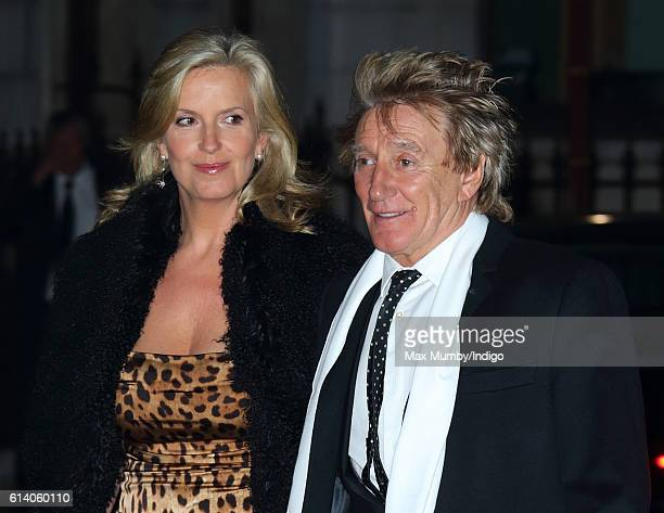 Sir Rod Stewart and wife Penny Lancaster attend a reception and awards ceremony at the Royal Academy of Arts on October 11 2016 in London England Sir...