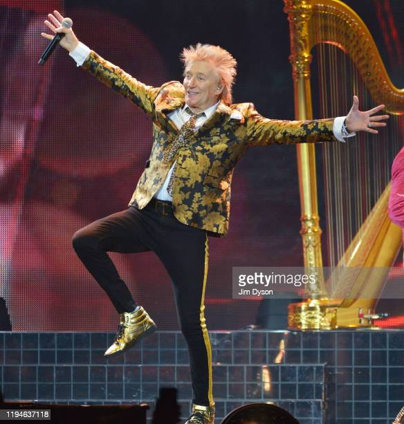 Sir Rod Stewart performs live on stage during his 'Blood Red Roses' tour at The O2 Arena on December 17 2019 in London England