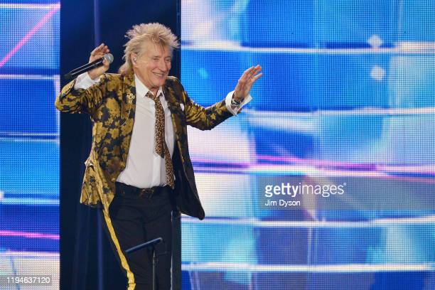 Sir Rod Stewart performs live on stage during his 'Blood Red Roses' tour at The O2 Arena on December 17, 2019 in London, England.