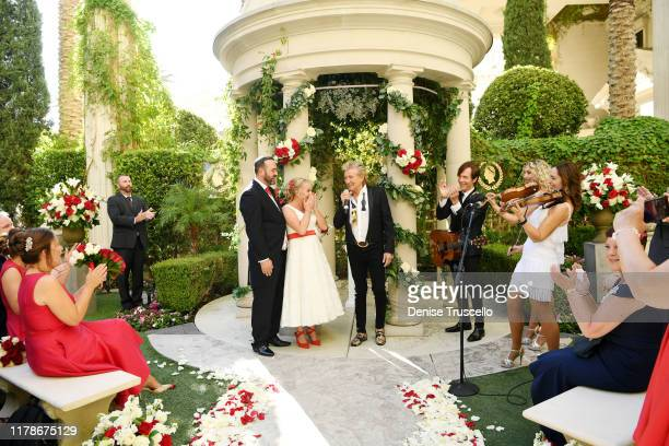 Sir Rod Stewart sings during the wedding of Sharon Cook and Andrew Aitchison from Liverpool England The wedding was nearly cancelled due to the...