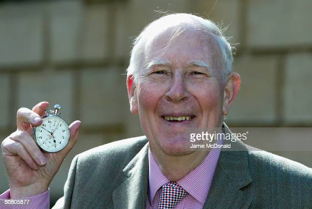 Sir Roger Bannister poses with the original stopwatchthat was used when recording the first sub 4 minute mile on May 6 2004 at Pembroke College in...