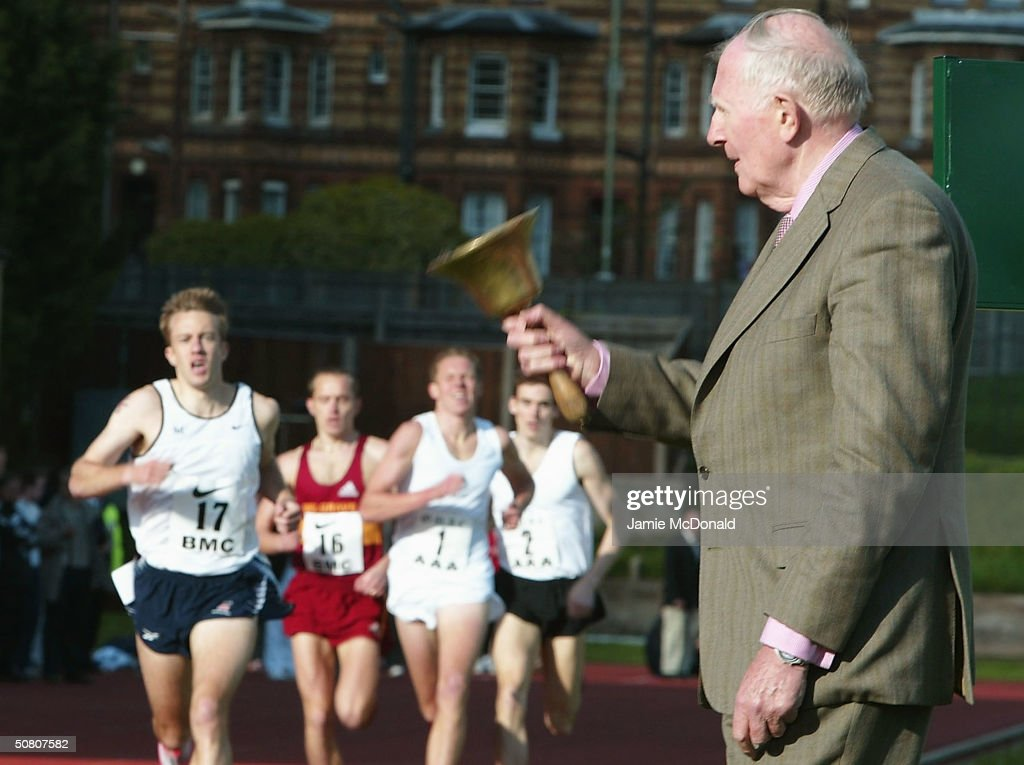 Sir Roger Bannister rings the Bell to signal the last lap of the mens elite 1500m race at the Iffley Road running track to celebrate the 50th Anniversary of his first sub 4 minute mile on May 6, 2004 at Iffley Road, Oxford, England.