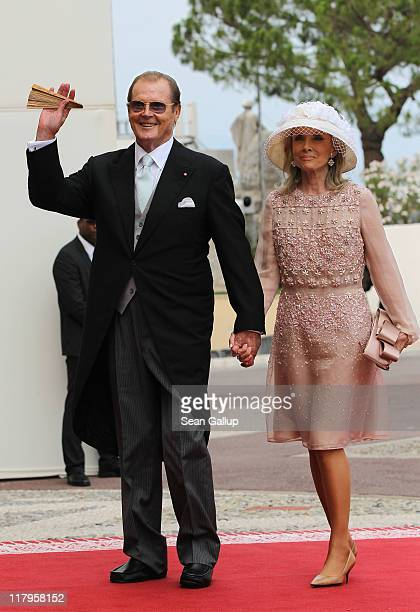 Sir Roger Moore and his wife Kristina Tholstrup attend the religious ceremony of the Royal Wedding of Prince Albert II of Monaco to Princess Charlene...