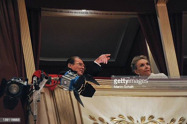 Sir Roger Moore and his wife Lady Kristina Tholstrup attend the traditional Vienna Opera Ball at the Vienna State Opera on February 16, 2012 in...