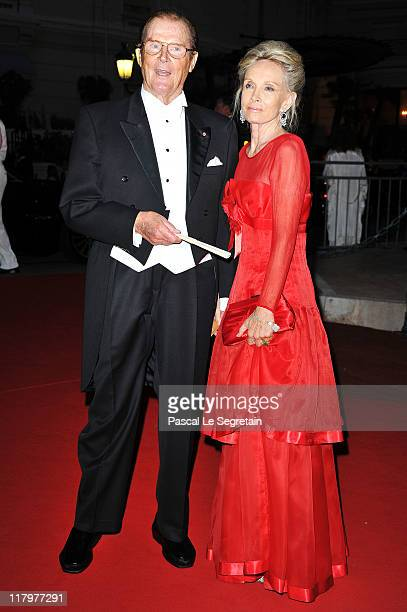 Sir Roger Moore and wife Kristina Tholstrup attend the official dinner and firework celebrations at the Opera Terraces after the religious ceremony...