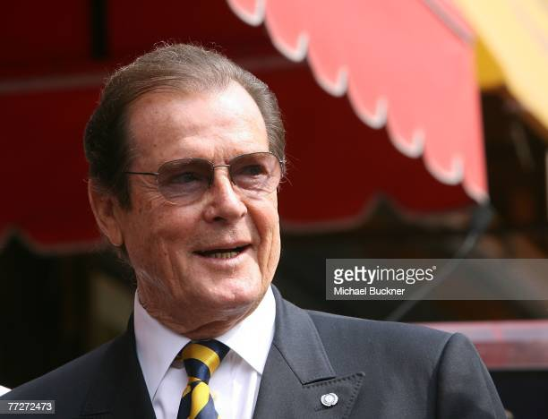 Sir Roger Moore is honored with a Star on the Walk of Fame at 7007 Hollywood Blvd on October 11 2007 in Los Angeles California