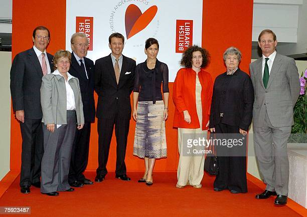 Sir Roger Moore Sir David Frost HRH Crown Princess Mary and HRH Crown Prince Frederik of Denmark attend the press launch of a new multimedia...