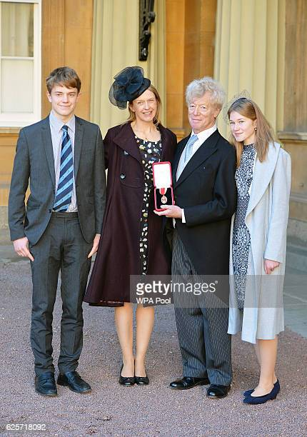 Sir Roger Scruton after he was knighted by the Prince of Wales along with his wife Sophie daughter Lucy and son Sam after during an Investiture...